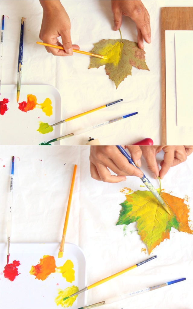 painting fall color leaves for printing on paper, great autumn and thanksgiving crafts