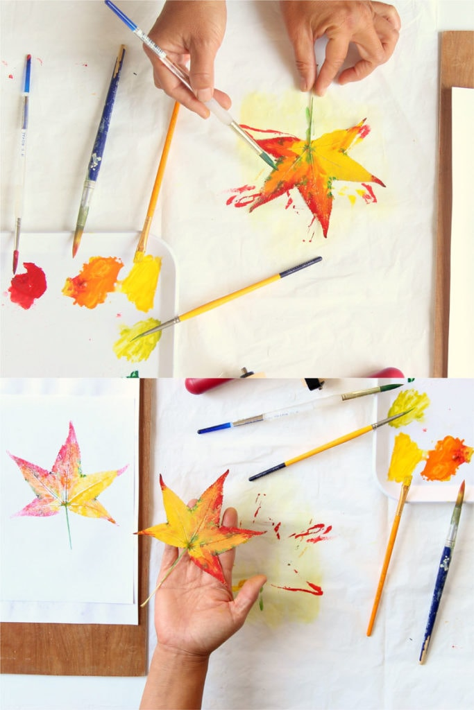 press and print leaf art, easy crafts for kids