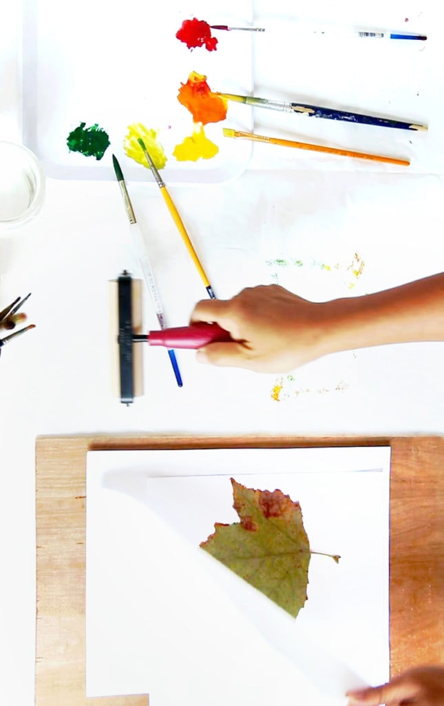use rolling pin or roller to make leaf prints art
