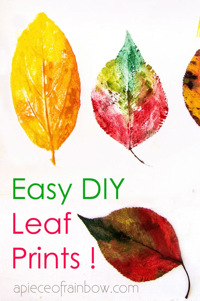 colorful leaf print art with real leaf impressions, look like watercolor paintings