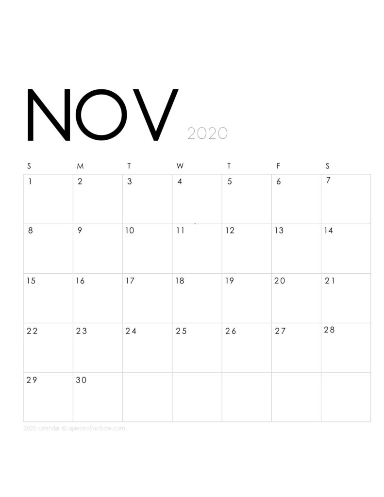 Free printable November 2020 calendar and monthly planner, with modern minimal design.