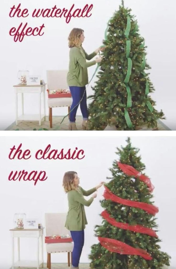 how  to use ribbons to decorate a Christmas tree