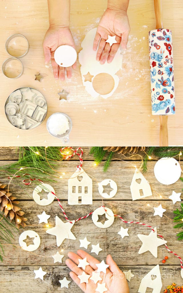 How to make salt dough or air dry clay ornaments & lighted star Christmas garland using cookie cutters & DIY templates, & helpful tips to prevent cracks.