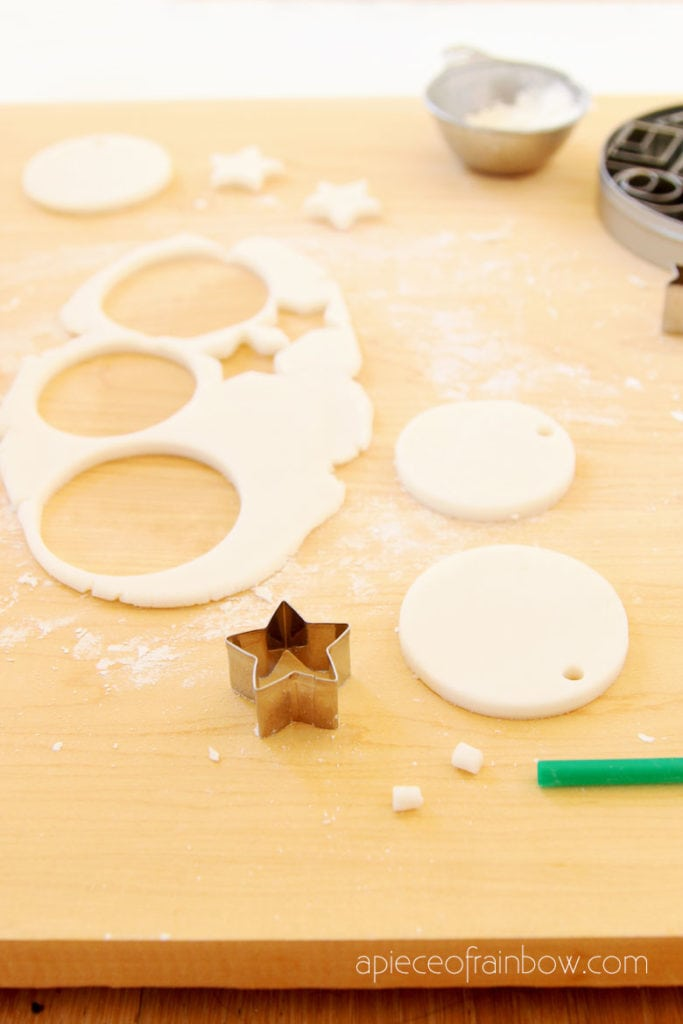 cutting air dry clay and salt dough to make Christmas decorations and crafts