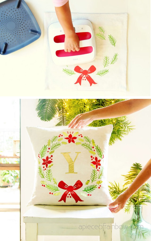 Pottery Barn style personalized  DIY farmhouse  Christmas pillow using Cricut EasyPress