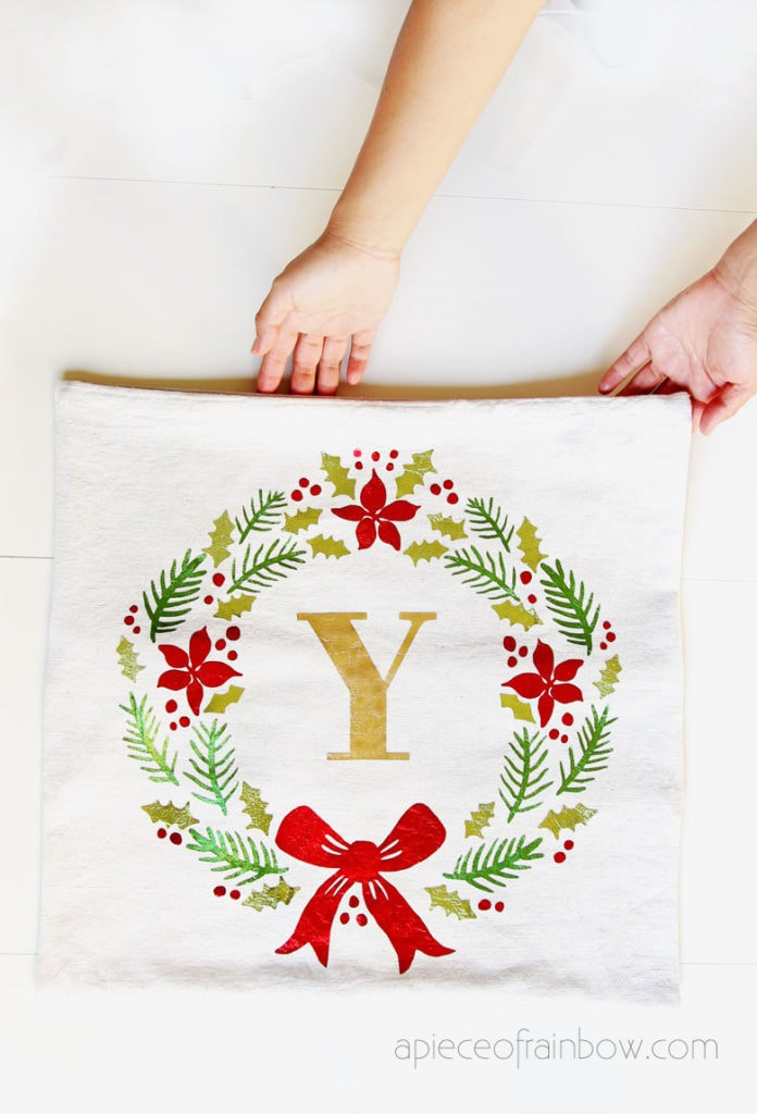 linen farmhouse Christmas pillow: beautiful personalized gift