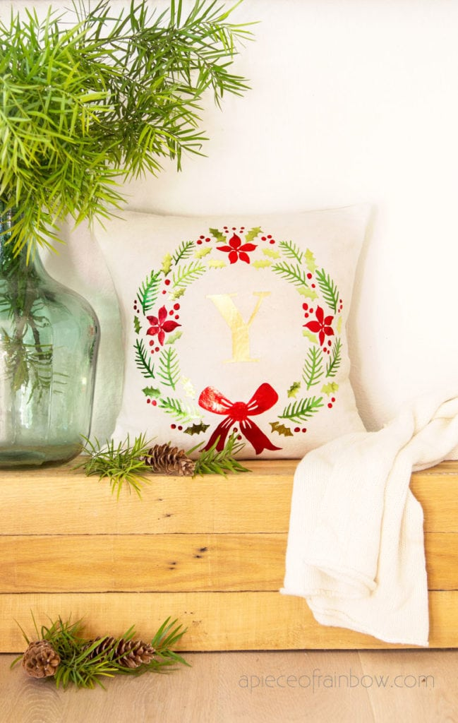 living room Christmas throw pillow