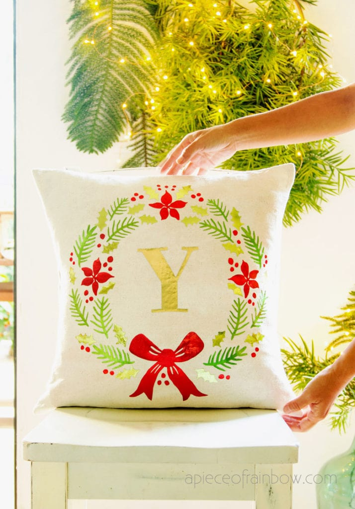 handmade gift farmhouse Christmas throw pillow in living room