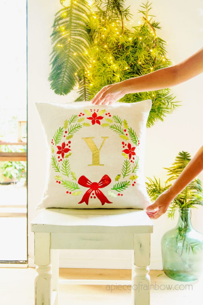 DIY farmhouse monogrammed Christmas pillow: beautiful personalized gift & holiday decor Pottery Barn style! Free SVG designs for Cricut Maker & EasyPress!