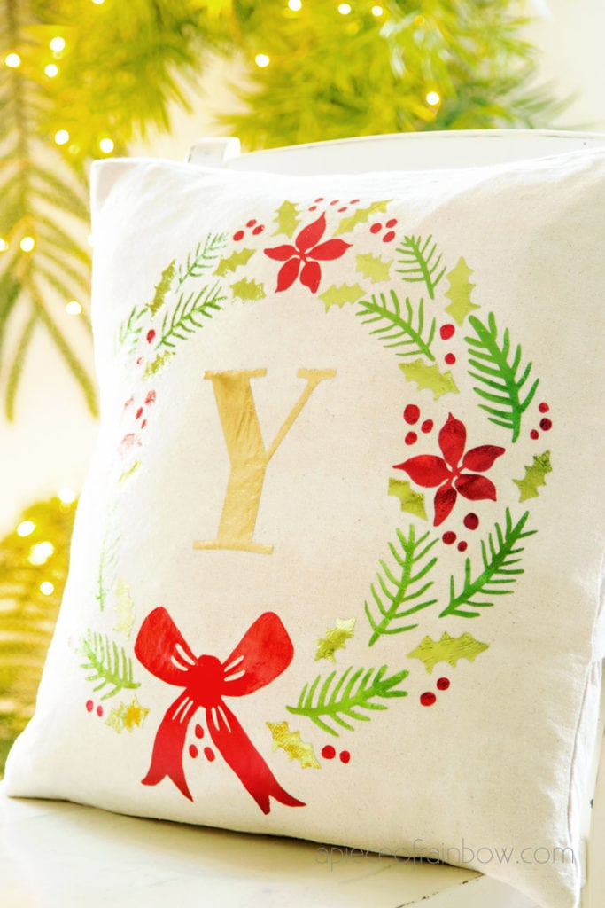 farmhouse monogrammed wreath Christmas pillow as living room decorations