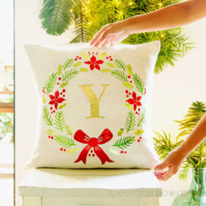 DIY farmhouse monogrammed Christmas pillow: beautiful personalized gift & holiday decor Pottery Barn style! Free SVG designs for Cricut Maker & EasyPress! – A Piece of Rainbow
