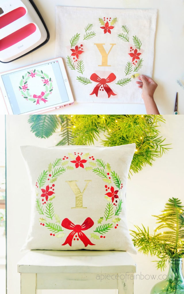 making farmhouse monogrammed wreath Christmas pillow for personalized gift & holiday decor in Pottery Barn style