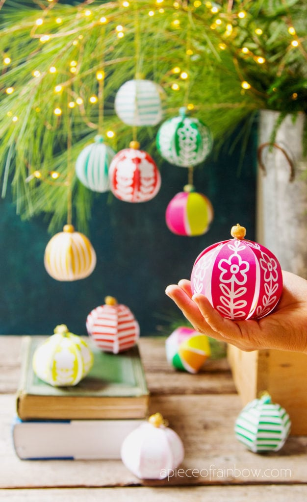 5 minute beautiful DIY paper Christmas ornaments for almost FREE! Easy boho Anthropologie and farmhouse style decorations & paper crafts for kids & family!