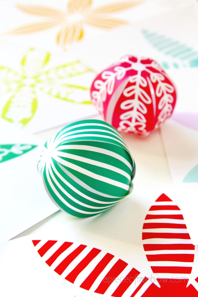 easy craft ideas: modern farmhouse colorful Christmas ornaments made with paper