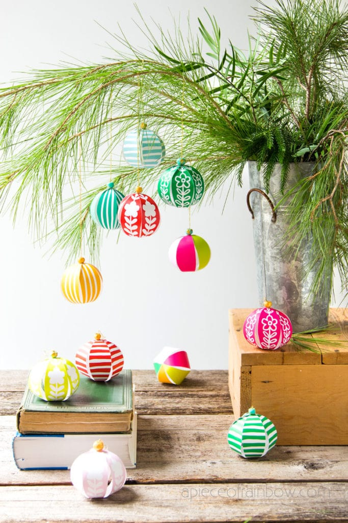 table top Christmas tree decorations with DIY paper ornaments