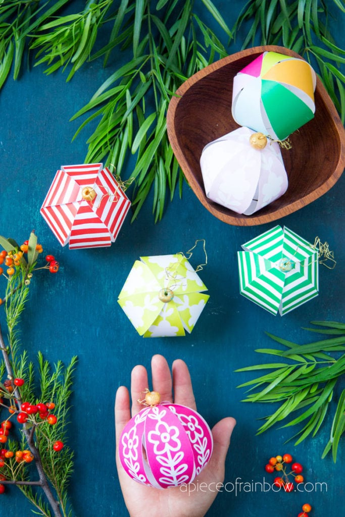 boho Anthropologie style beautiful DIY paper Christmas ornaments