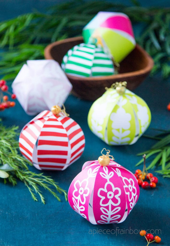 scandinavian design DIY paper Christmas ornaments