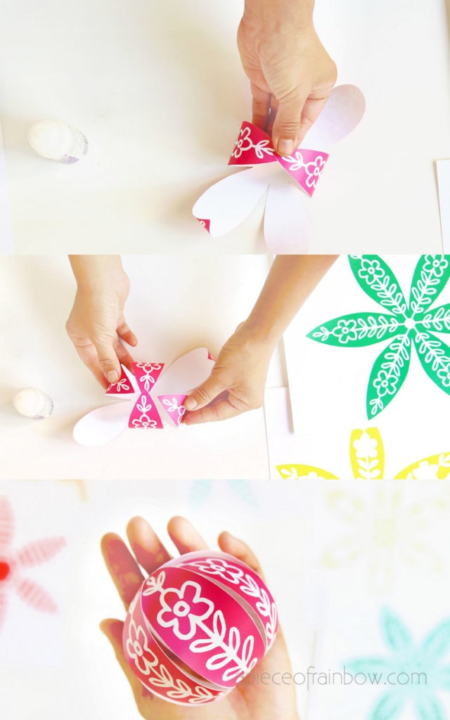 glue together paper ornaments