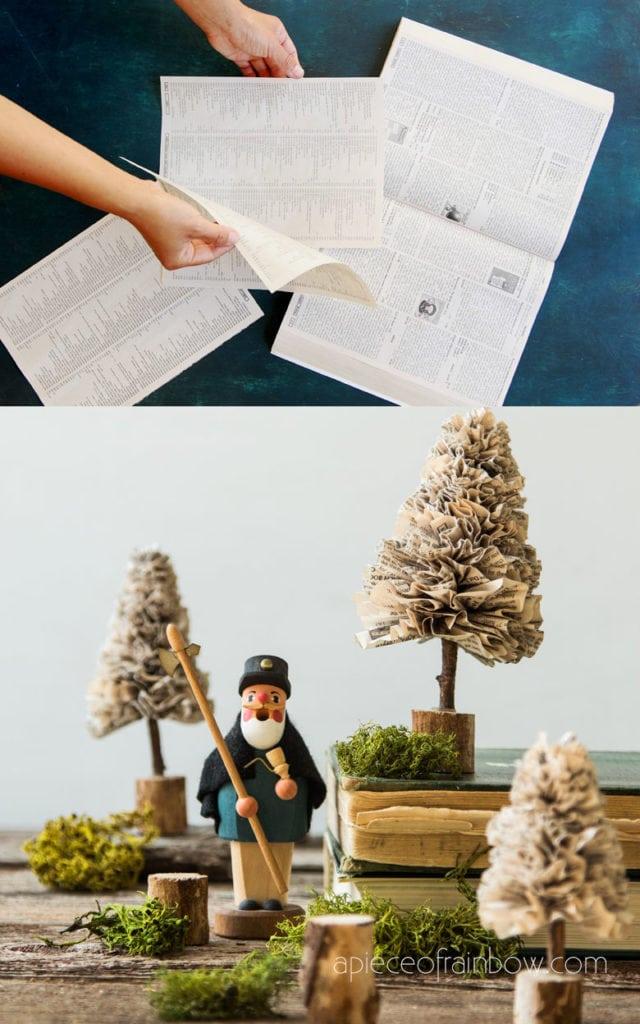vintage farmhouse  DIY paper Christmas trees