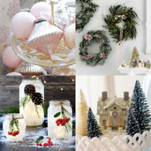 Easy & beautiful Christmas decorating with ornaments & candles! Creative ideas from pink and metallic ornaments, to amber glass bottles and wall of wreaths!