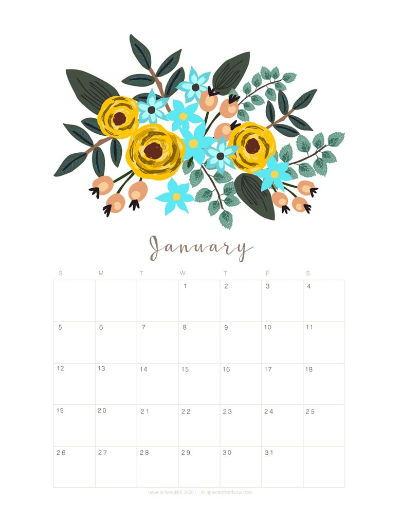 Free printable January 2020 calendar and monthly planner, with flowers bouquet / floral painting design!