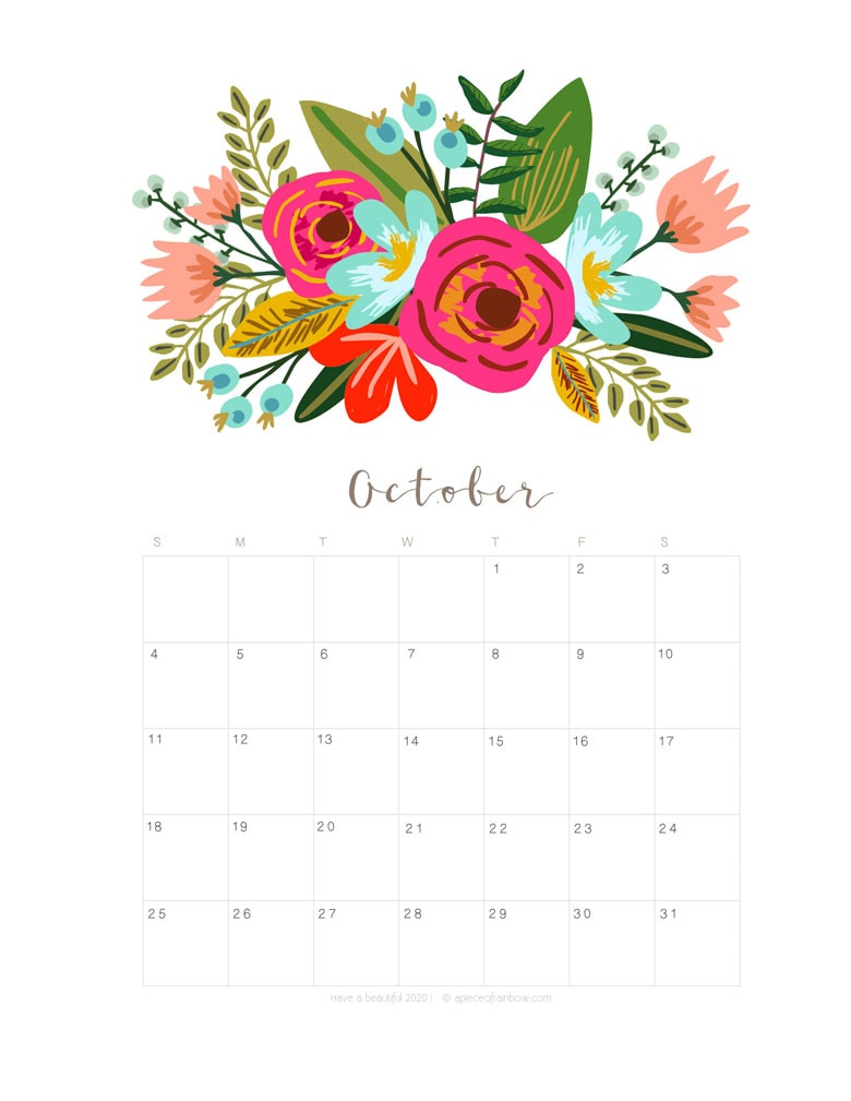 Free printable October 2020 calendar and monthly planner, with flowers bouquet / floral painting design!