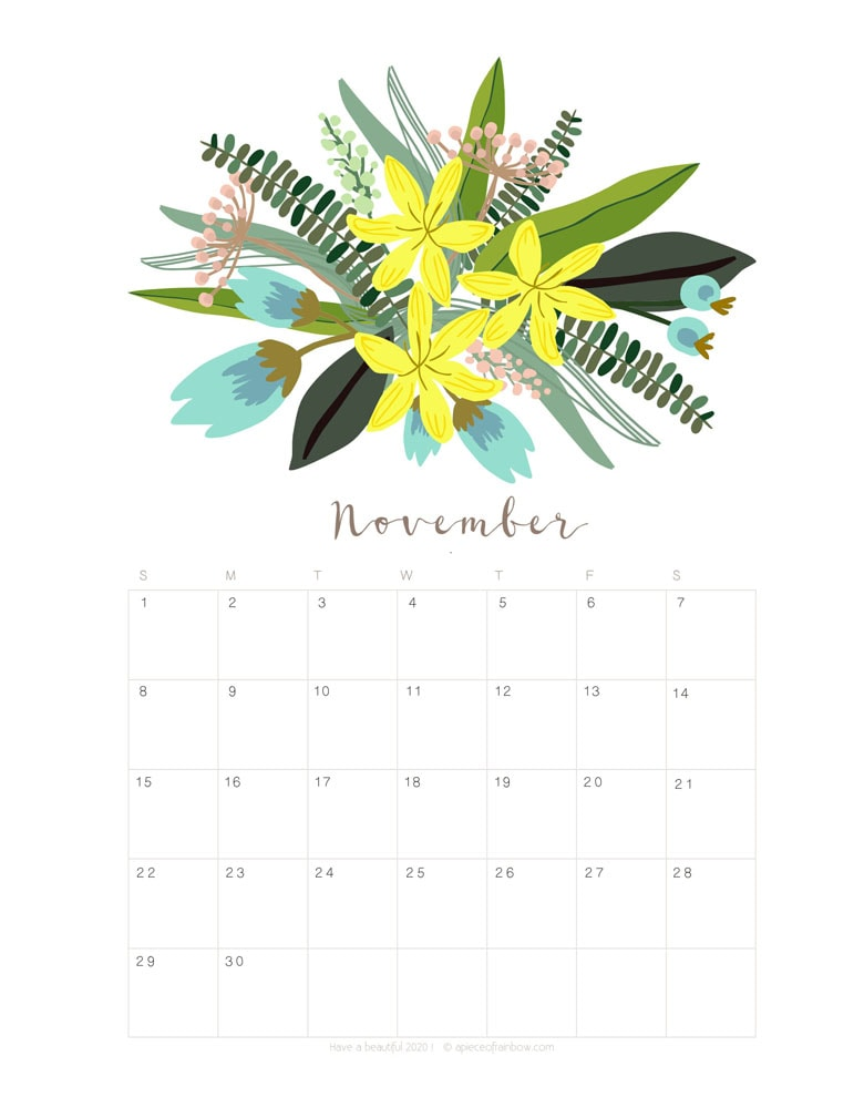 Free printable November 2020 calendar and monthly planner, with flowers bouquet / floral painting design!