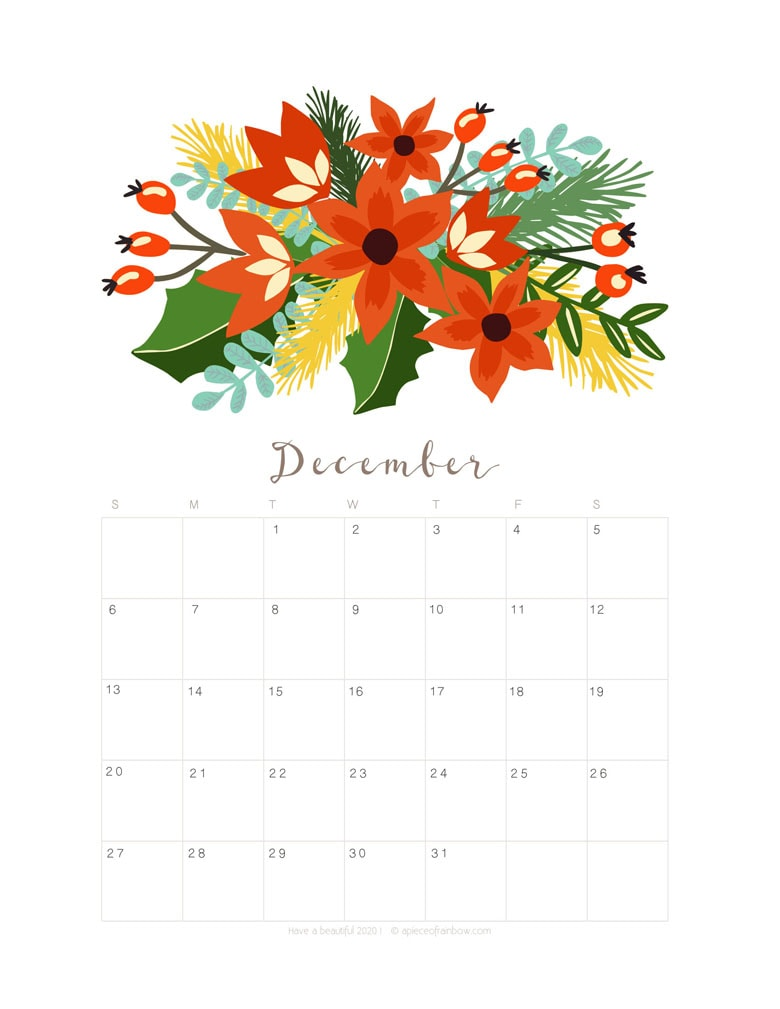 Free printable December 2020 calendar and monthly planner, with flowers bouquet / floral painting design!