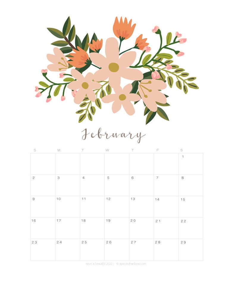Free printable February 2020 calendar and monthly planner, with flowers bouquet / floral painting design!