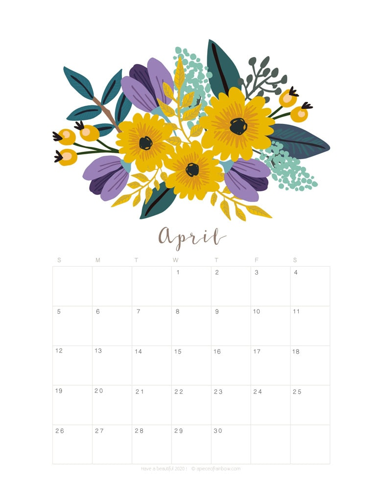 Free printable April 2020 calendar and monthly planner, with flowers bouquet / floral painting design!