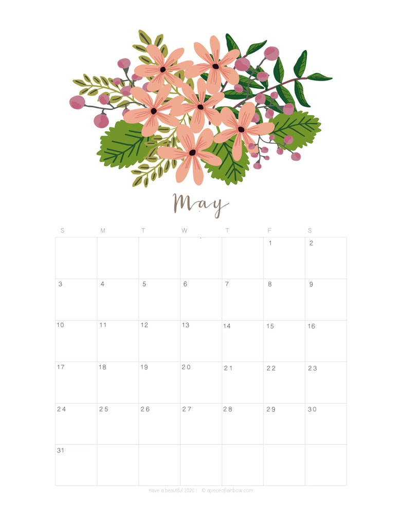 Free printable May 2020 calendar and monthly planner, with flowers bouquet / floral painting design!