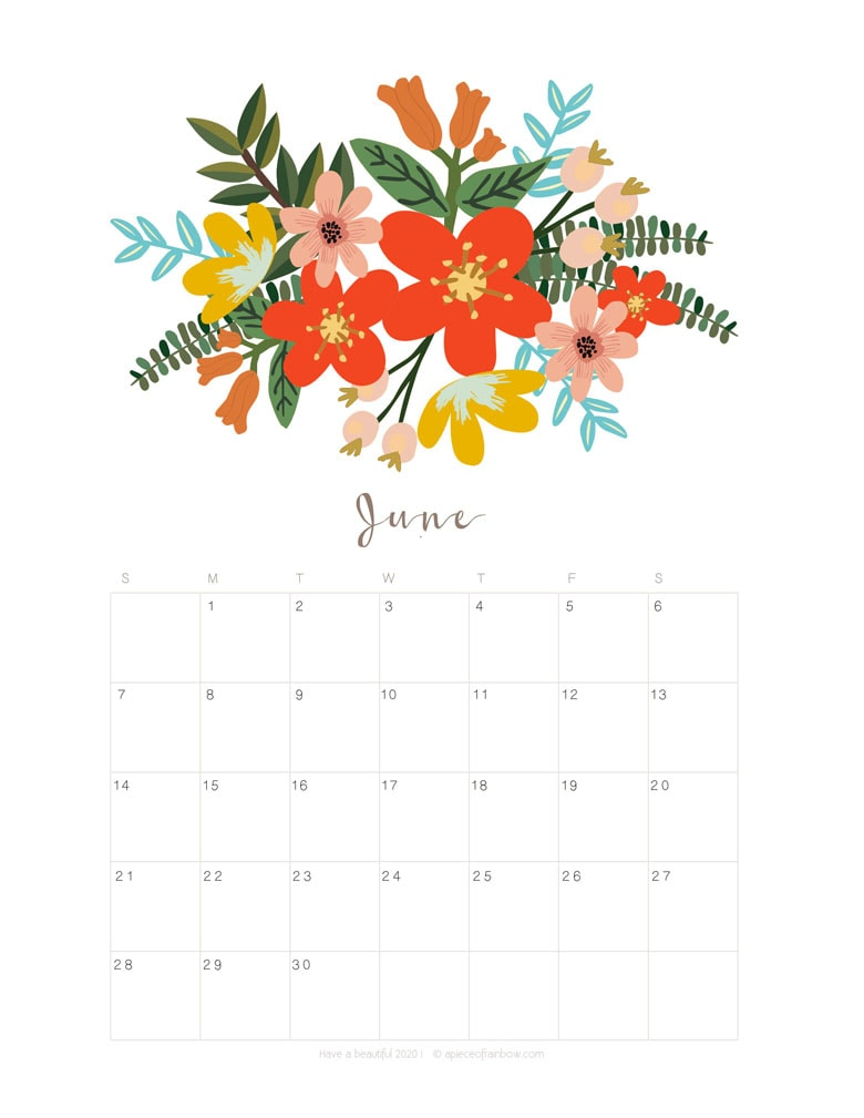 Free printable June 2020 calendar and monthly planner, with flowers bouquet / floral painting design!