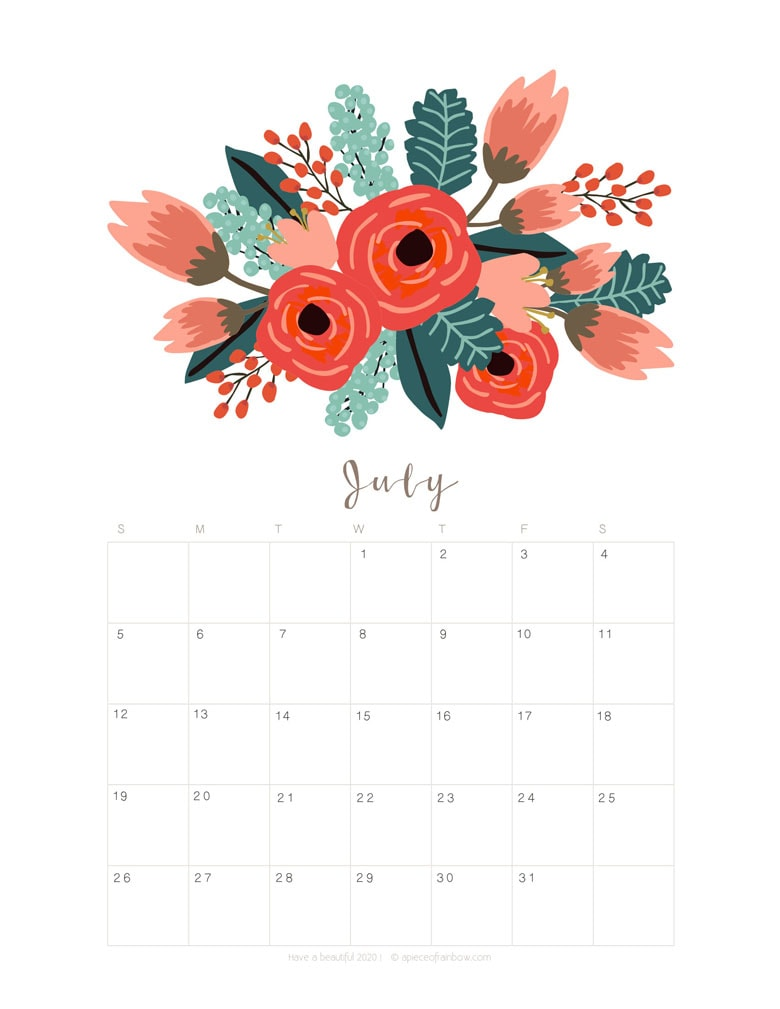 Free printable July 2020 calendar and monthly planner, with flowers bouquet / floral painting design!