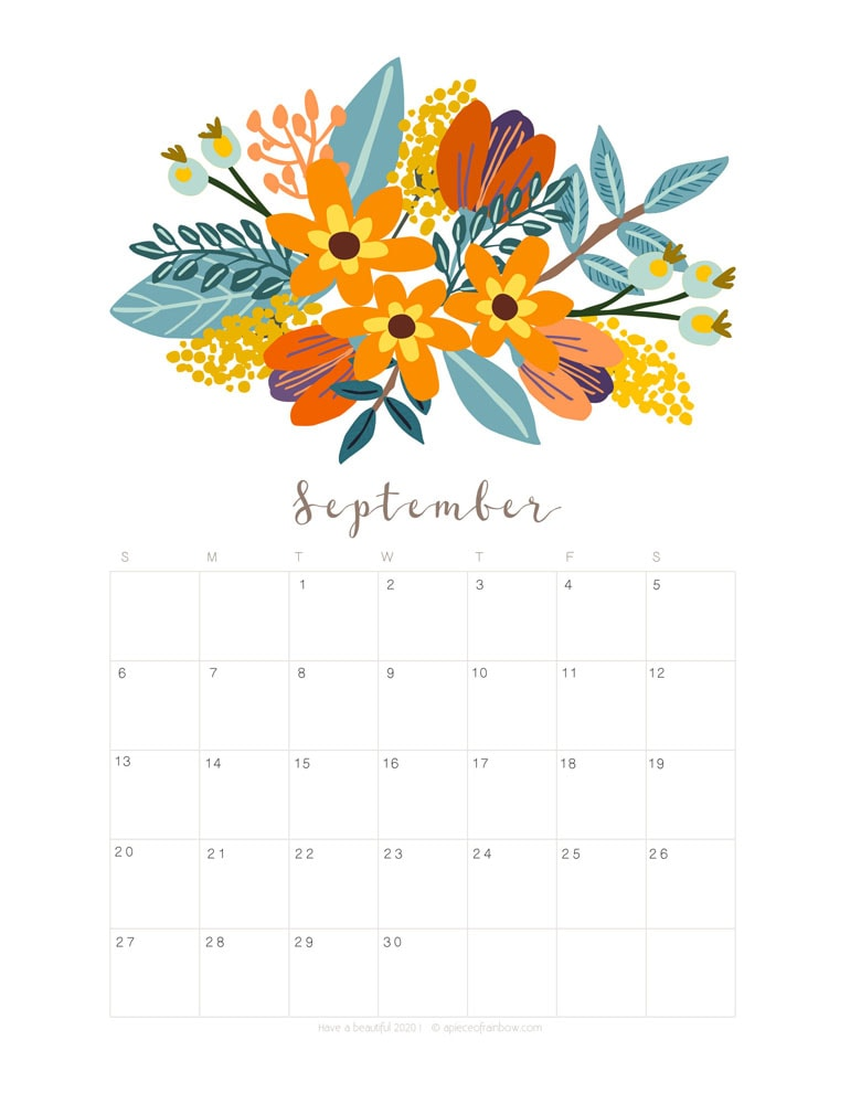 Free printable September 2020 calendar and monthly planner, with flowers bouquet / floral painting design!