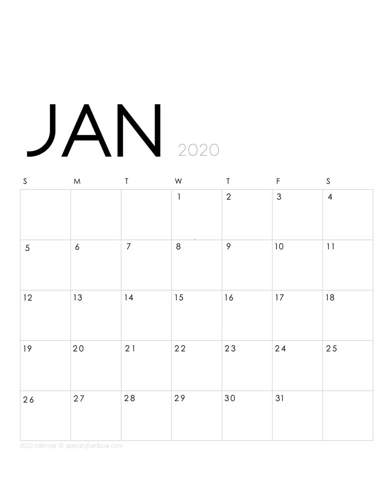 Free printable January 2020 calendar and monthly planner, with modern minimal design.