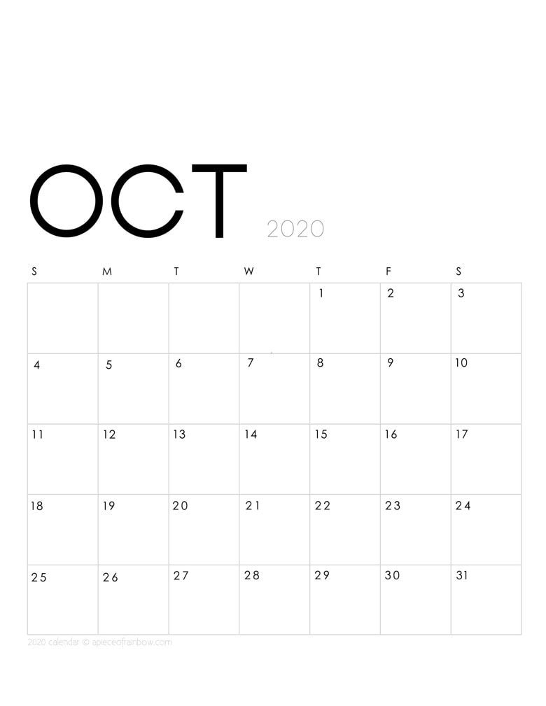 Free printable October 2020 calendar and monthly planner, with modern minimal design.