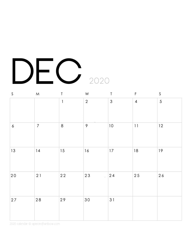 Free printable December 2020 calendar and monthly planner, with modern minimal design.