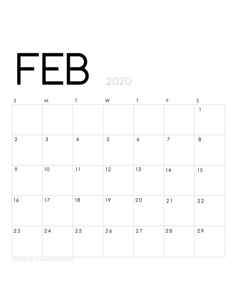 Free printable February 2020 calendar and monthly planner, with modern minimal design.