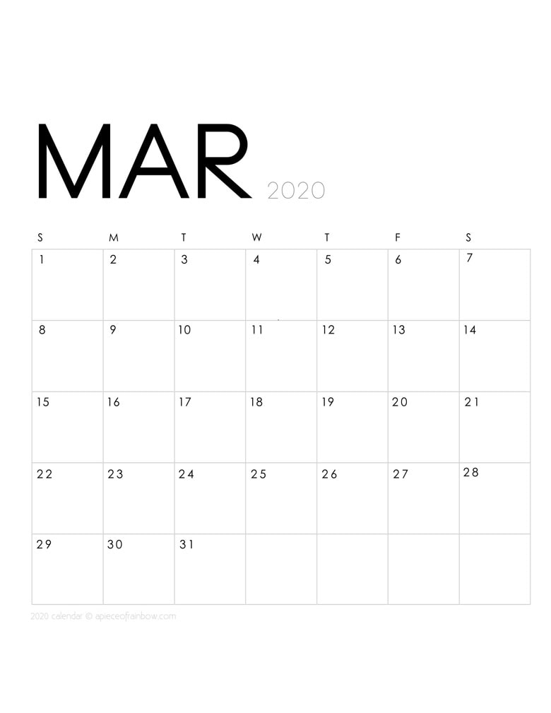 Free printable March 2020 calendar and monthly planner, with modern minimal design.