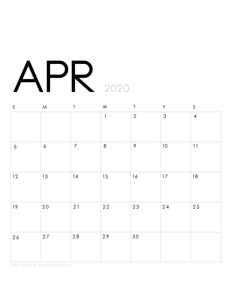 Free printable April 2020 calendar and monthly planner, with modern minimal design.