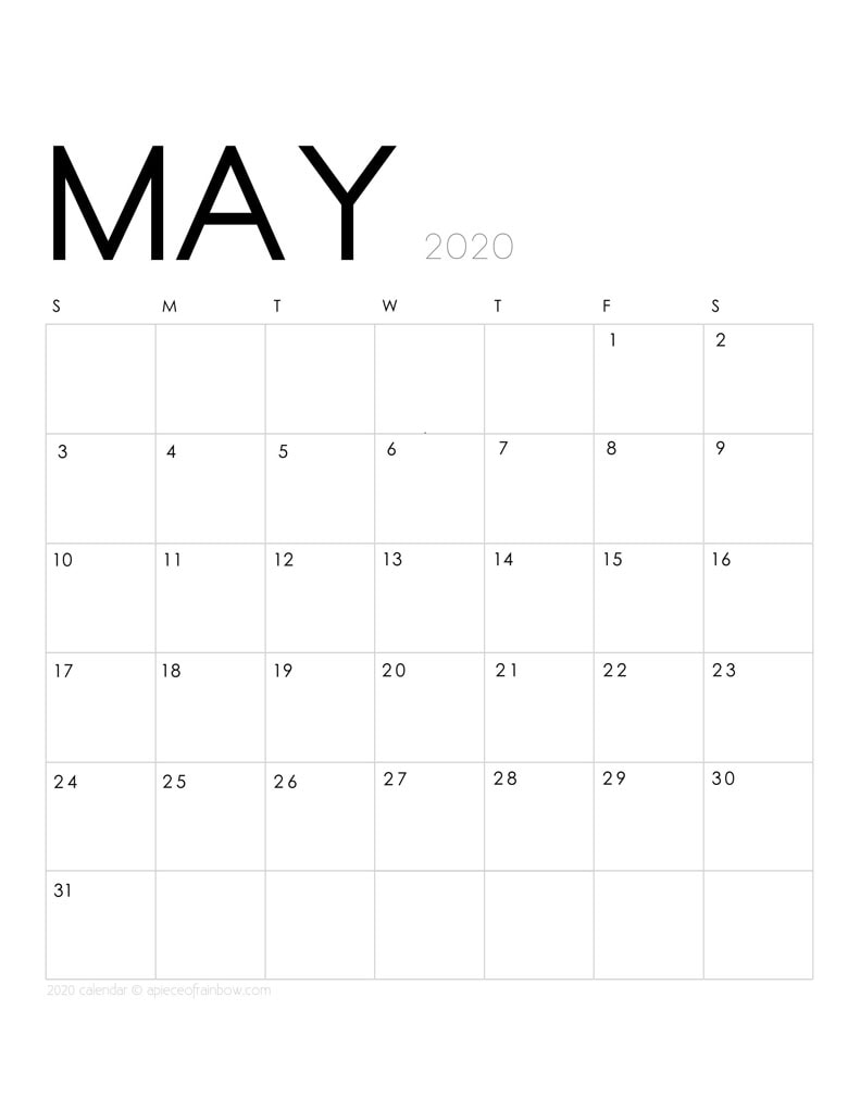 Free printable May 2020 calendar and monthly planner, with modern minimal design.