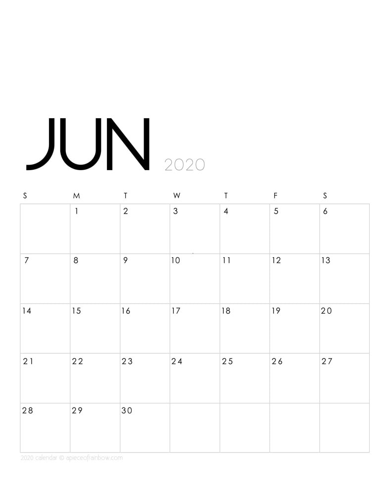 Free printable June 2020 calendar and monthly planner, with modern minimal design.