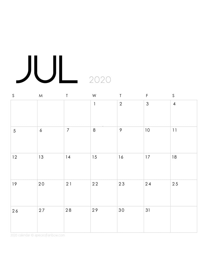 Free printable July 2020 calendar and monthly planner, with modern minimal design.