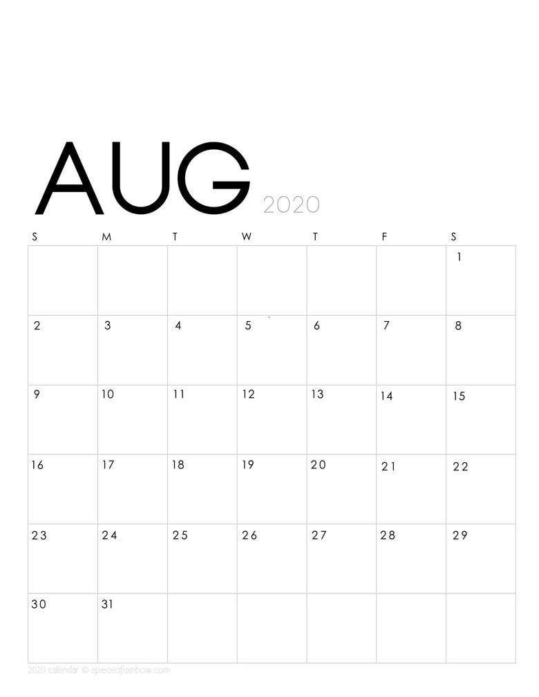 Free printable August 2020 calendar and monthly planner, with modern minimal design.