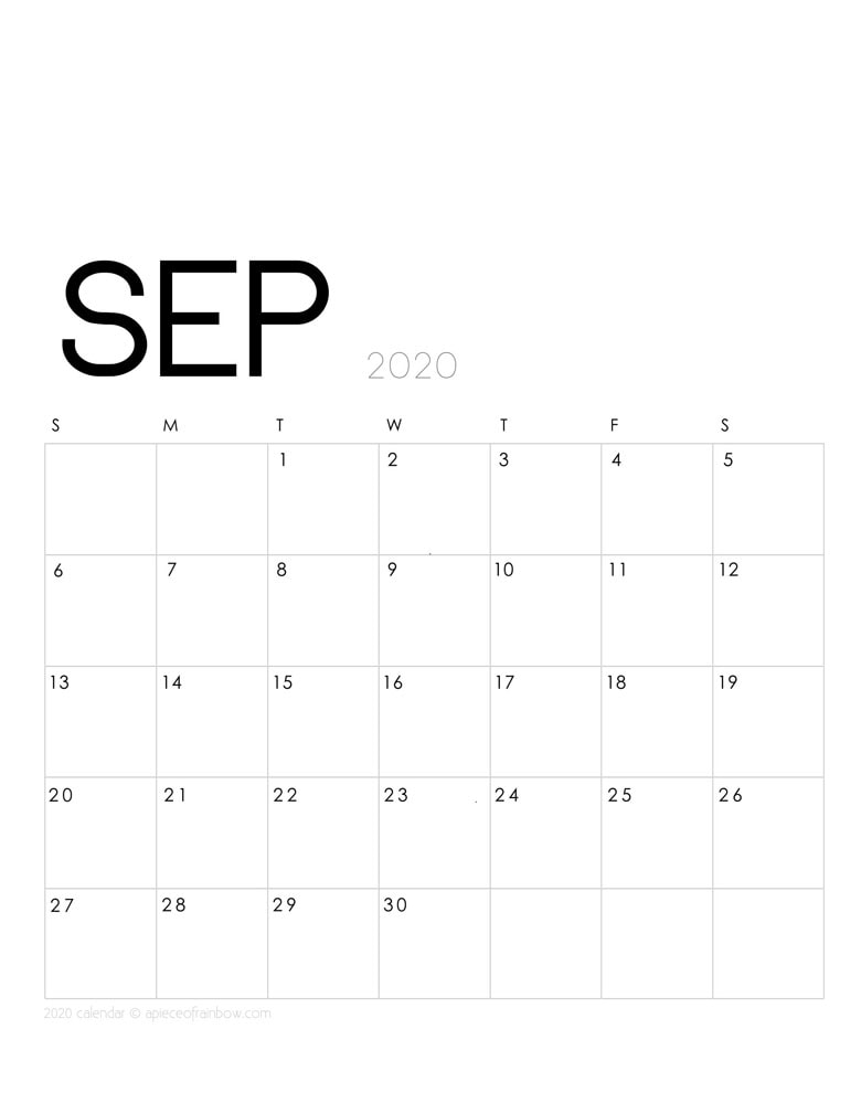 Free printable September 2020 calendar and monthly planner, with modern minimal design.