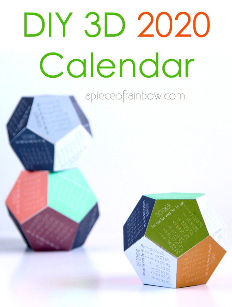 Easy paper crafts DIY 3D 2020 calendar: unique modern desktop calendar & fun gift! Download free template!