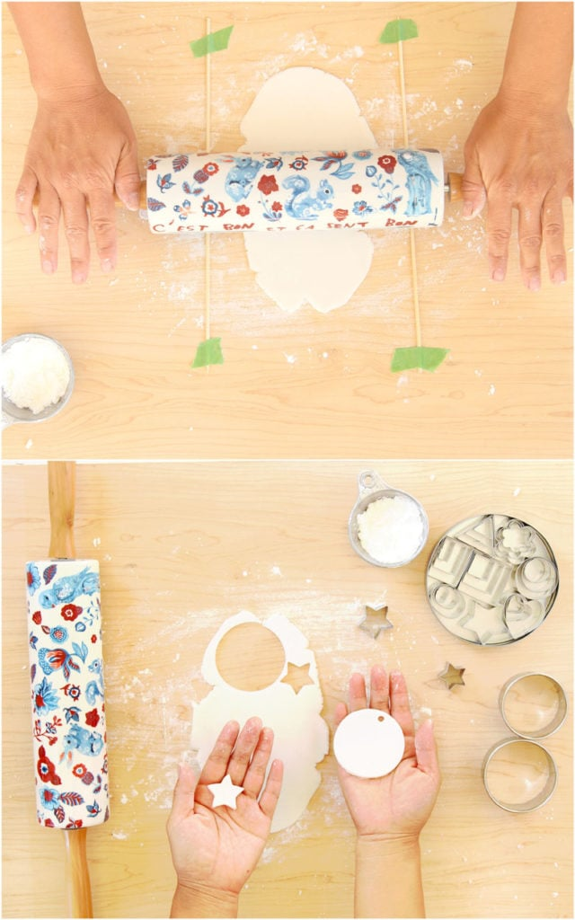rolling salt dough or air dry clay to make Christmas crafts, decorations, ornaments