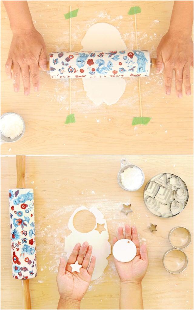 enrollar masa de sal o arcilla para secar al aire para hacer manualidades, decoraciones y adornos navideños