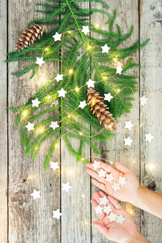 lighted star Christmas garland decorations and crafts using DIY air dry clay