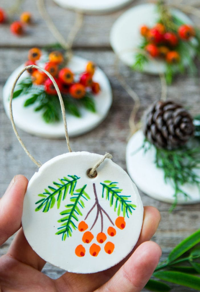 salt dough and air dry clay ornaments